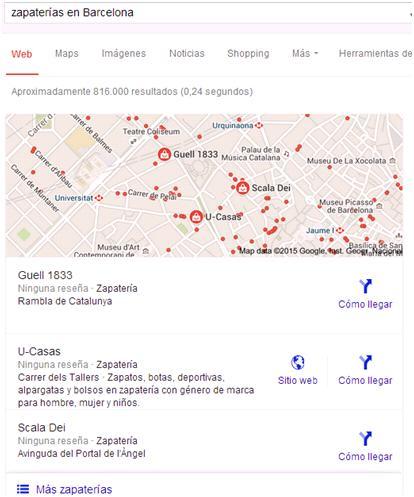 Screenshot resultados zapaterías Barcelona